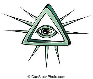 すべて, 神秘主義者, 目, 見る, 印