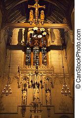 すべて, 聖者, チャペル, 三位一体教会, ニューヨーク市, 中, ステンドグラス, 十字架像, 記念, へ, 牧師, morgan, dix, 造られる, 1914, によって, thomas, nast