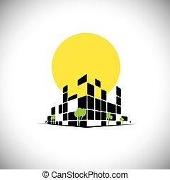 すらりとしている, 都市, 高い 上昇, 超高層ビル, そして, 太陽, 中に, 背景, -, 概念