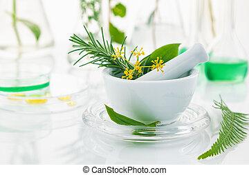 すりこぎ, モルタル, 白, herbs.