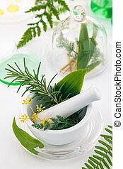 すりこぎ, 白, herbs., モルタル