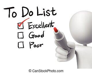 するべきことのリスト, 点検, によって, 3d, 人