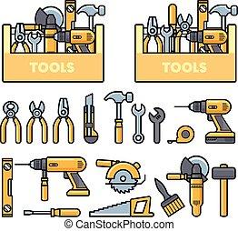 せん孔機, アイコン, 飛行機, 仕事, -, キット, ドリル, レンチ, 道具箱, 鋸, プライヤー, 建設, 道具