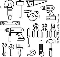 せん孔機, アイコン, 飛行機, 仕事, -, キット, レンチ, 建設, 鋸, プライヤー, ドリル, 線, 道具