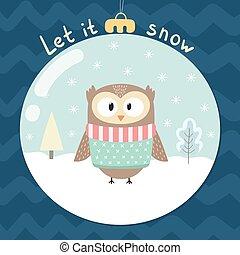 そうさせられた, それ, 雪, グリーティングカード, ∥で∥, a, かわいい, フクロウ