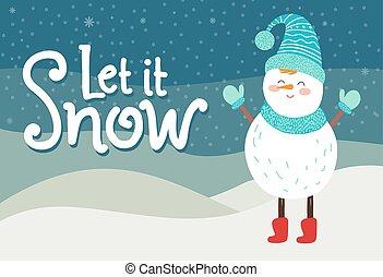 そうさせられた, それ, 雪, グリーティングカード, 微笑, 雪だるま, 中に, 編まれる, スカーフ