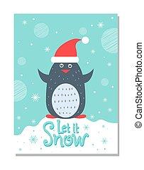 そうさせられた, それ, 雪, 挨拶, クリスマスカード, ∥で∥, ペンギン