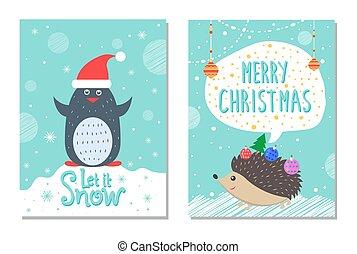 そうさせられた, 雪, 挨拶, クリスマスカード, ペンギン, ハリネズミ