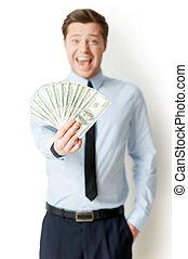 そう, 保有物の お金, 伸ばしている, rich!, 幸せ, 若い, positivity, 隔離された, 人, 白, 地位, 表現, formalwear, 間
