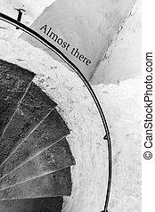 そこに, ほとんど, 動機づけである, -, 励ますこと, 印, 階段