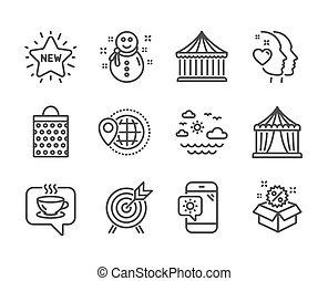 そのような物, ベクトル, ホリデー, 旅行, 天候, テント, 世界, サーカス, セット, 電話。, アイコン