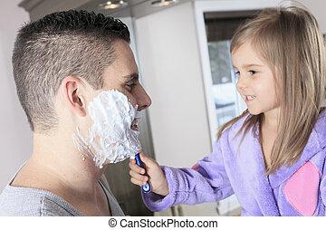 そりあと, 父, 浴室, 彼の, 娘