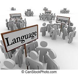 それら, 単語, のまわり, 言語, 人々, 多数, 集まった, 別, 多様, グループ, サイン, コミュニティー, 文化, 例証しなさい