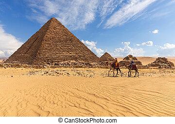 それら, 3, bedouins, ピラミッド, menkaure, ピラミッド, 女王
