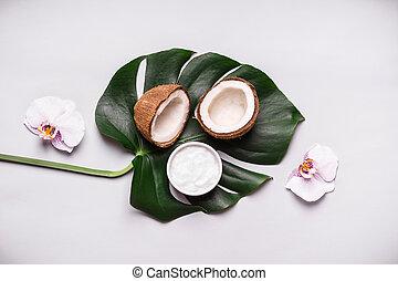 それ, クリーム, オイル, 自然, ∥あるいは∥, 葉, トロピカル, あなた自身, 化粧品, flowers., ココナッツ