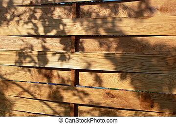 それ, フェンス, 影, 木, 木製である