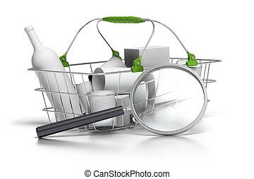 それ, 概念, バスケット, 消費, 平均, 拡大鏡, 前部, 分析者
