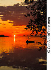 それ, 美しい, 川, 航海している日の入, ボート