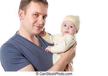 それ, family., 新生, 女の子, 抱きしめること, 隔離された, 子供, 白, 父, 赤ん坊, 使用, 子育て, バックグラウンド。