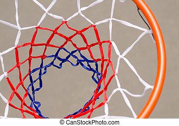 たが, バスケットボールネット, の上, 光景