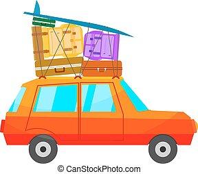 たくさん, 手荷物, 漫画, 白, isolate., 赤い自動車, サーフボード, バックグラウンド。