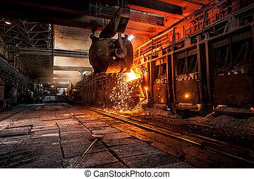 たたきつける, の, 液体, 金属, 中に, open-hearth, 炉
