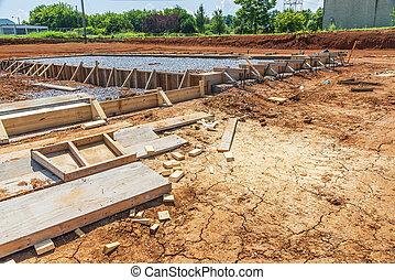 たたきつける, コンクリート, 建設, 新しい, コマーシャル, 厚板, 建物, 準備された