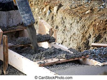 たたきつける, コンクリート, footings