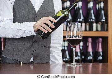 たたきつける, バーテンダー, カウンター, ガラス赤ワイン