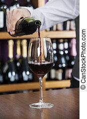 たたきつける, バーテンダー, ガラス, マレ, 赤ワイン