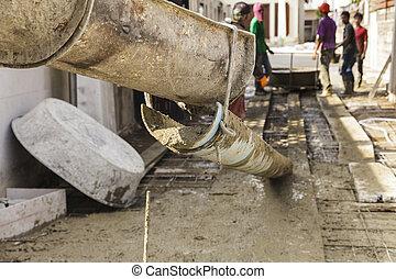 たたきつける, 基礎, 労働者, フォーカス, セメント, 建設, トラック, から