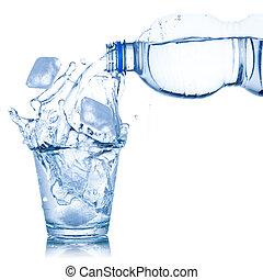 たたきつける, 立方体, 隔離された, 氷 水, ガラス, 白
