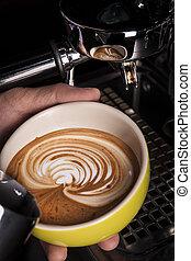 たたきつける, 芸術, barista, latte