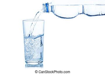 たたきつける, 隔離された, 水 ガラス, びん, 白
