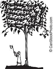 たたき切る, 木