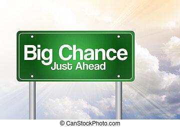 ただ, 前方に, ビジネス, 道, チャンス, 緑, 印, 大きい, 概念