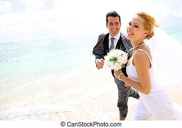 ただ, 恋人, 結婚されている, 動くこと, 浜, 砂