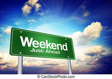 ただ, 週末, 前方に, ビジネス, 道, 緑, 印, 概念