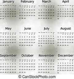 ただ, 雪, 冬, カレンダー, 2012