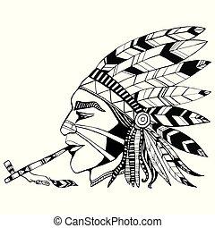 たばこを吸う, 民族, p, シャーマン, indian パイプ, 着色, costum, 平和