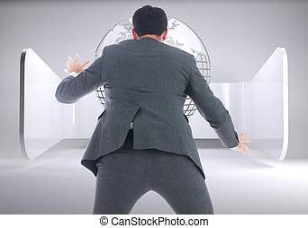 つかまえること, 合成の イメージ, ビジネスマン