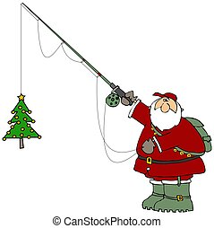 つかまえること, 木, クリスマス, santa