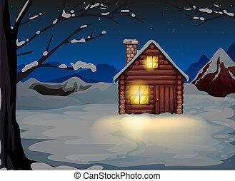 つけられる, 家, 土地, 丸太, 雪が多い