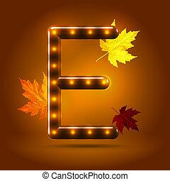 つけられる, 装飾用である, 概念, e, sans, 葉, キャンデー, 秋, バックグラウンド。, serif, 暖かい, カラメル, グロッシー, 手紙, 資本, 流行, 落ちる, 上に, かえで