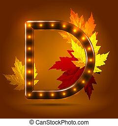 つけられる, 装飾用である, 概念, sans, 葉, キャンデー, 秋, バックグラウンド。, serif, 暖かい, カラメル, グロッシー, 手紙, 資本, 流行, 落ちる, 上に, かえで, d
