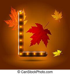 つけられる, 装飾用である, 概念, sans, 葉, l, キャンデー, 秋, バックグラウンド。, serif, 暖かい, カラメル, グロッシー, 手紙, 資本, 流行, 落ちる, 上に, かえで