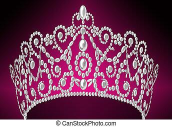 つけられる, 黒, 王冠, 真珠, 女らしい