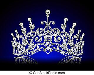 つけられる, 黒, 王冠, 背景, 反射, 女らしい