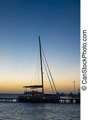 つながれる, ヨット, 日没, 冷静, 海, マリーナ
