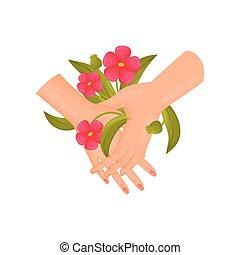 つぼみ, イラスト, バックグラウンド。, ベクトル, 手, 対, close-up., 白い花, 赤